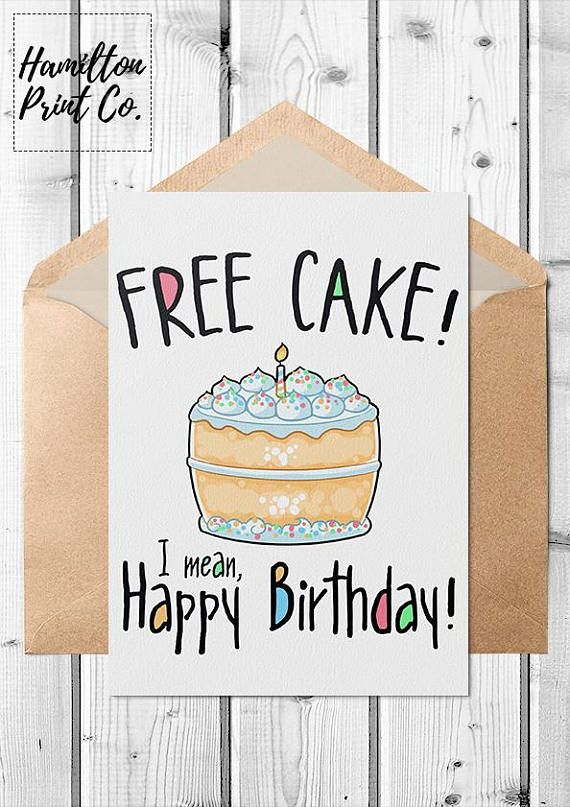 Printable Funny Kawaii Birthday Card Everyone Loves Free Cake Is The Best