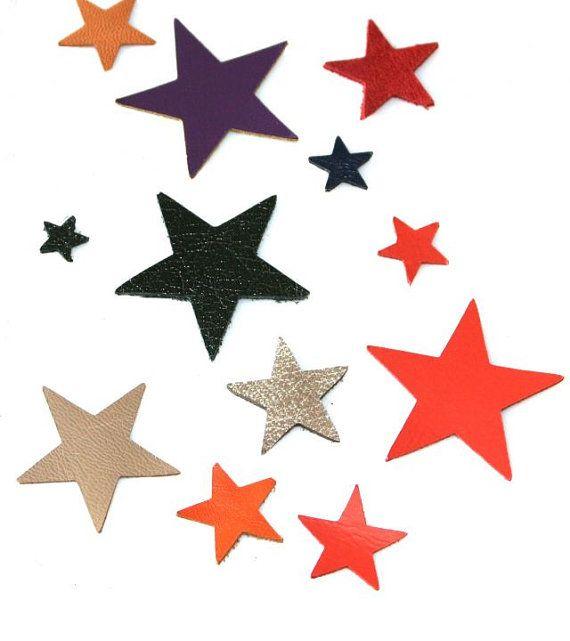 50 pcs leather stars diferent sizes leather stars by ramonaignat