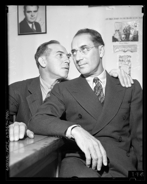 Groucho and Chico Marx.  Neither with their make up on.  Rare you see this.