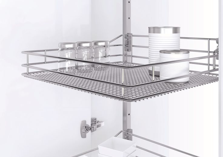 Vauth-Sagel's VSA pull out tower pantry provides super easy access to pantry contents as baskets slide out automatically as you open the door. Baskets are available in Saphir chromed wire (shown here), Premea solid base or Premea Artline solid base with glass panels.