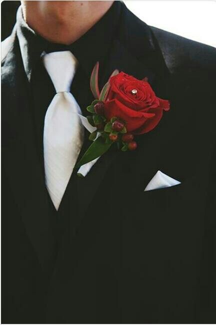 Red and black with white inspired grooms suit