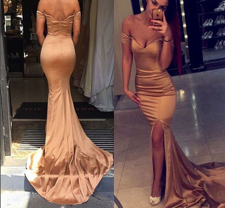 Gold Off Shoulder Long Prom Dress Mermaid Satin Long Prom Dresses With Slit,so sexy!!!