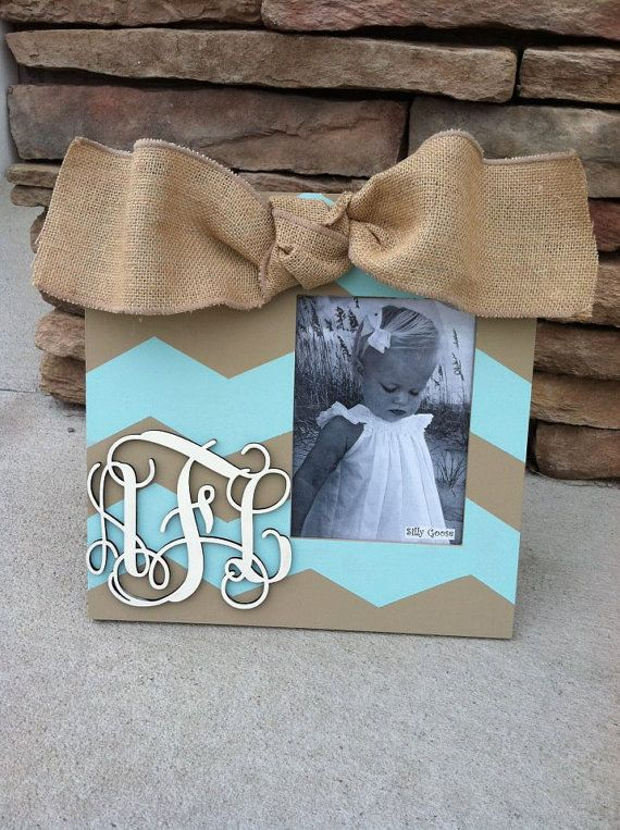Chevron picture frame hand painted with a by SillyGooseFrames, $38.00