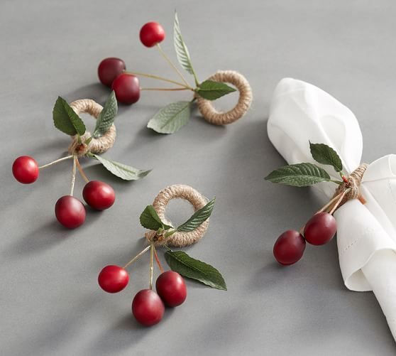 Cherry Napkin Ring, Set of 4   Pottery Barn