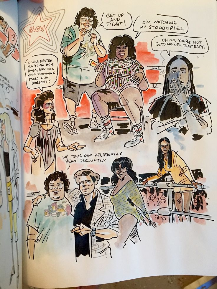 "schweizercomics:  ""Watched GLOW this weekend, did some sketchbookin'. Introduced to a lot of great actors in a lot of great roles, especially Britney Young, Sydelle Noel, and Kia Stevens (who was in the first lady wrestling match I ever saw, taking..."