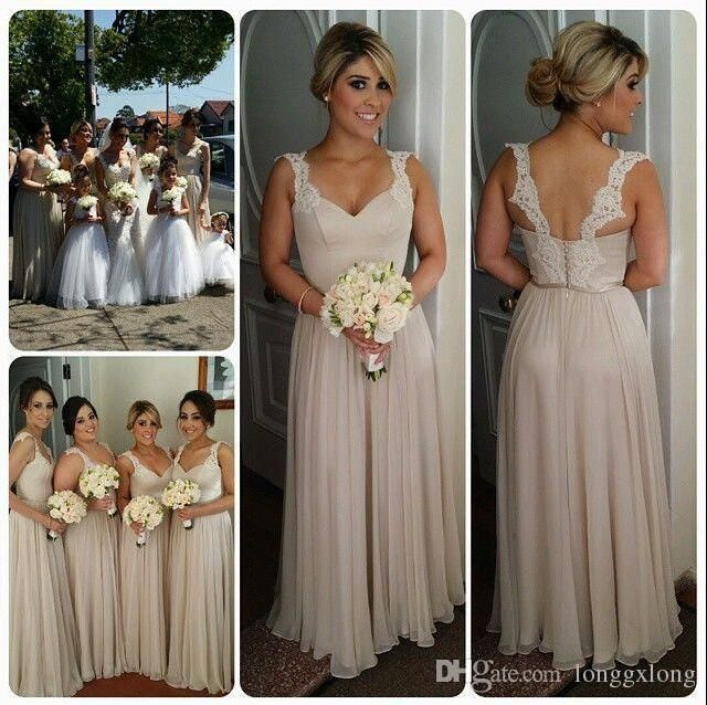 2016 Fashion Country Bridesmaids Dresses Long A Line Chiffon Spaghetti Lace Straps Backless Floor Length Prom Gowns Bridesmaid Dress Cheap Mocha Bridesmaid Dresses Modest Bridesmaid Dresses With Sleeves From Longgxlong, $67.54| Dhgate.Com