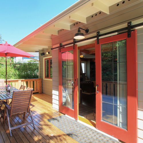 Outside patio with sliding barn doors  For the Home in 2019  Exterior barn doors Patio doors