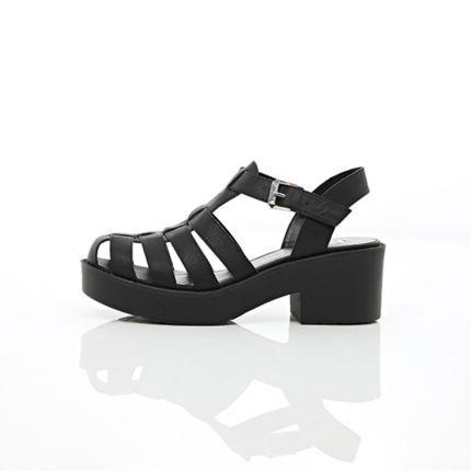 Sandales spartiates noires à talon carré - sandales plates - Chaussures / bottes - femme