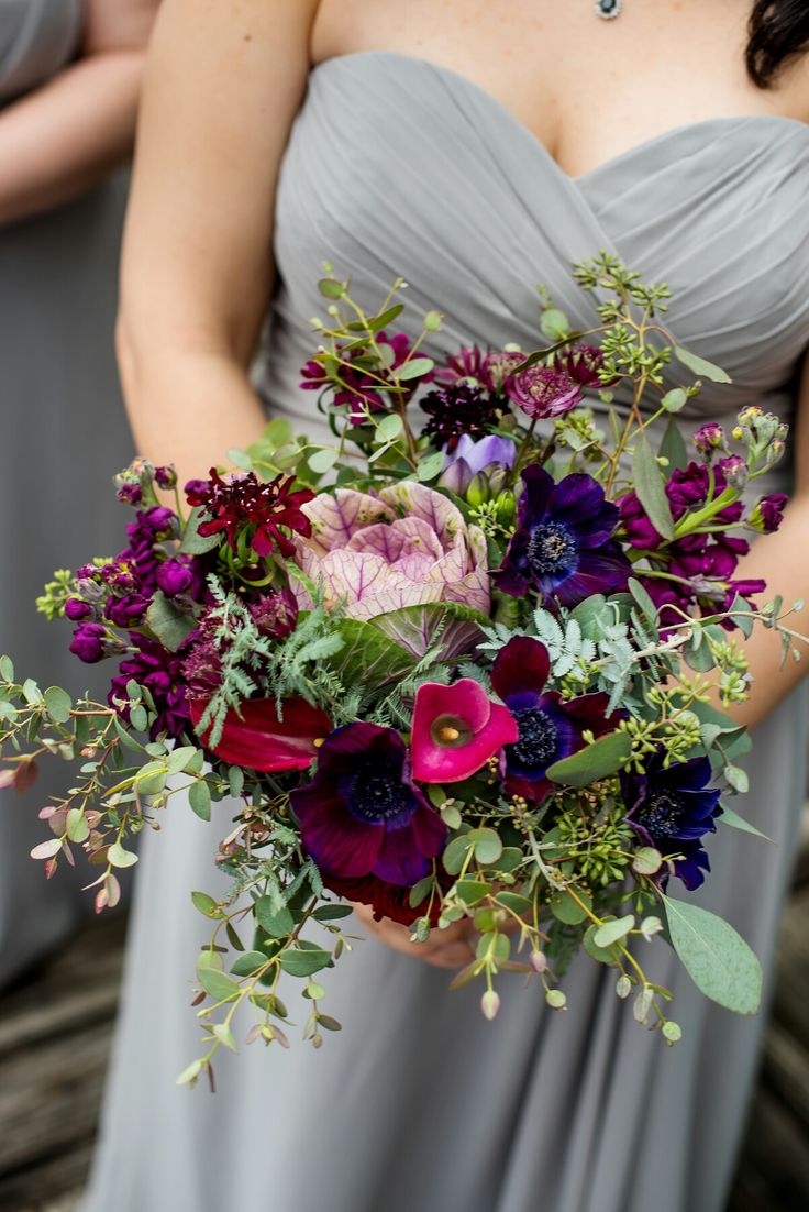 Ultra violet and burgundy bridesmaid bouquet with anemone, kale, astrantia and scabiosa by The Flower Girl. Photo by Adam Kealing Photography.