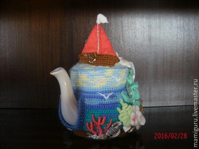 """Купить Грелка для чайника """"Алые паруса"""" - комбинированный, грелка на чайник, грелка для чайника, чайник, кухня"""