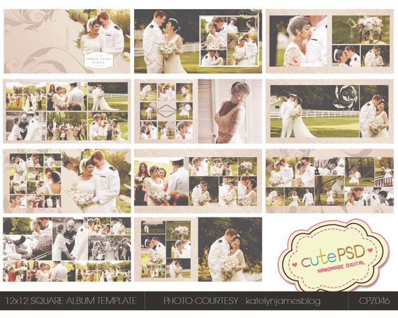 18 best album collage template images on pinterest collage instant download 12x12 square wedding album template by cutepsd 2000 pronofoot35fo Gallery