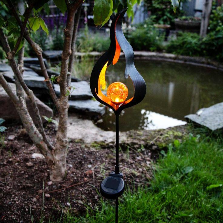 Premium LED Solarleuchte Flamme / Schwarz 52175