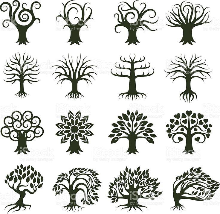 Árbol verde colección conjunto de iconos vectoriales sin royalties illustracion libre de derechos libre de derechos