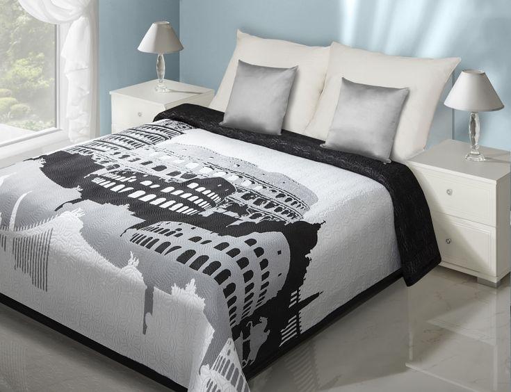 Dwustronne białe narzuty na łóżko z nowoczesnym czarnym wzorem