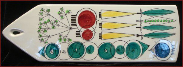 Rorstrand Sweden 'Picknick' Cheese Serving Tray. Picknick pattern designed by Marianne Westman.