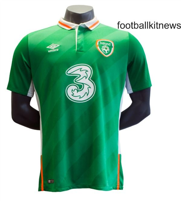 This is the new Ireland Euro 2016 home jersey, the Republic of Ireland's new principal strip for the upcoming Championships in France and other games in the 2016/17 season. Made by Umbro