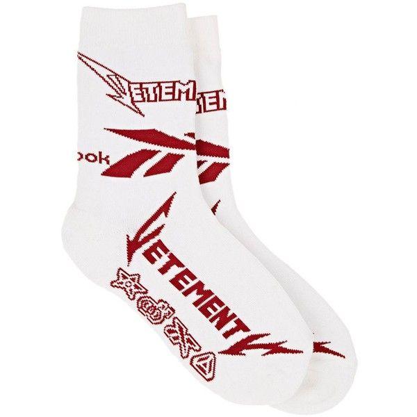Vetements Men's Logo Cotton-Blend Mid-Calf Socks ($90) ❤ liked on Polyvore featuring men's fashion, men's clothing, men's socks, white, mens socks and men's mid calf socks