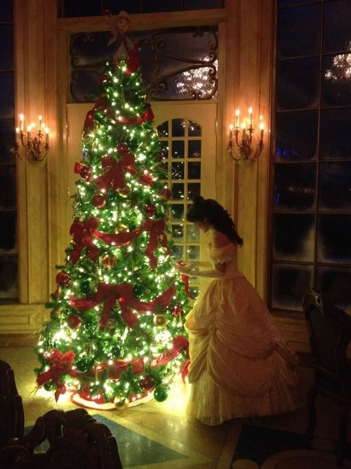 Disney Princess with Christmas tree: