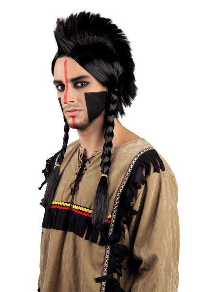 """https://11ter11ter.de/46303907.html Herren Perücke """"Indianer Antinanco"""" mit Zöpfen #11ter11ter #haare #perücke #zöpfe #flechten #indianer #fasching #karneval #kostüm #mann"""