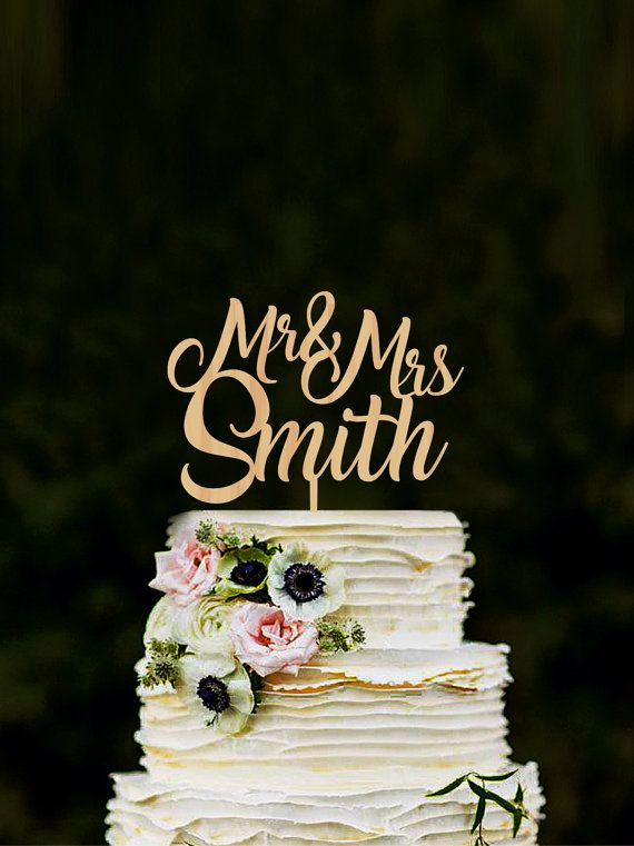 Custom Mr & Mrs cake toppers for wedding name by WeddingRusticDeco