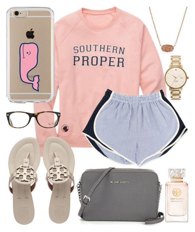 """Preppy"" by jadenriley21 on Polyvore featuring Speck, Vineyard Vines, Tory Burch, Ray-Ban, Kendra Scott and Kate Spade"