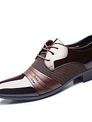 Masculino-Oxfords Tamancos e Mules-Sapatos formais-Rasteiro-Preto Cor da Pele-Couro Ecológico-Casamento Ar-Livre Escritório & Trabalho