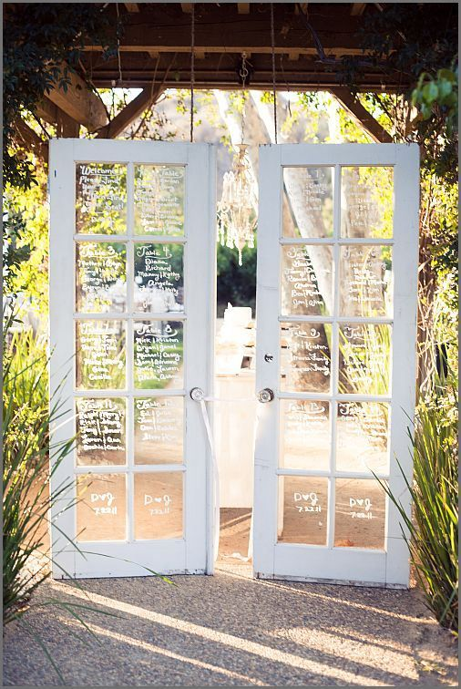 escort cards wooden door