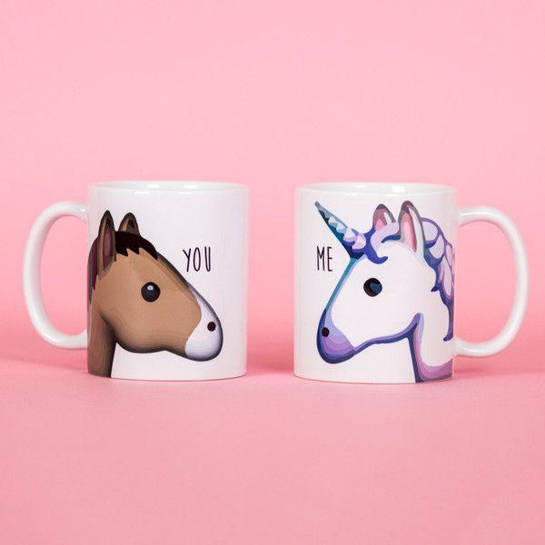 Unicorn and Horse You and Me Emoji Mug Funny Mug Rude Mug Mug Cup... (£10) ❤ liked on Polyvore featuring home, kitchen & dining, drinkware, drink & barware, home & living, mugs, silver, unicorn cups, emoji mug and unicorn mug