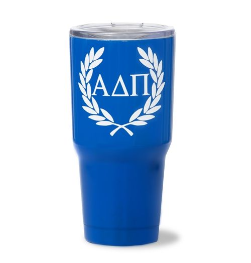 Alpha Delta Pi Laurel Wreath 30 oz. Stainless Steel Tumbler. www.sassysorority.com. #ADPI #drinkware #stainless steel #wreath #greekletters #bidday #tumbler #monogram #sorority #sassysorority #alphadeltapi
