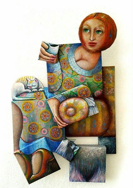 #Gingerhair coffee lady -Acryl on canvas -Irregular format #Erika Stanley