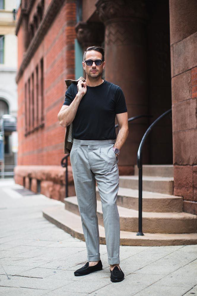 Pulling Off A T Shirt With Dress Pants It S Possible He Spoke Style Shop Mens Casual Outfits Summer Mens Pants Fashion Mens Casual Outfits