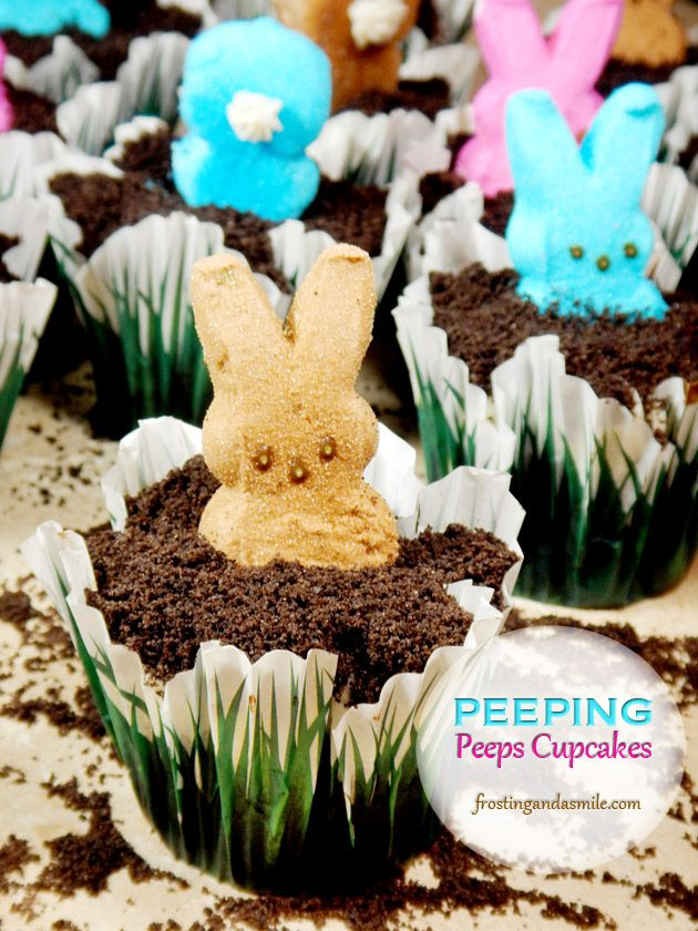 Peeps cupcakes bunny peeps popping out of oreo cookie dirt for What is dirt made out of