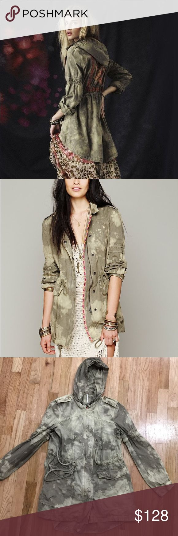 Free People embroidered festival anorak Like-new condition. Beautiful bleached tie dye embroidered festival anorak jacket Free People Jackets & Coats