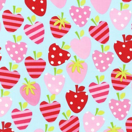 Metro Market Aqua strawberries fabric by Ann Kelle for Robert Kaufman