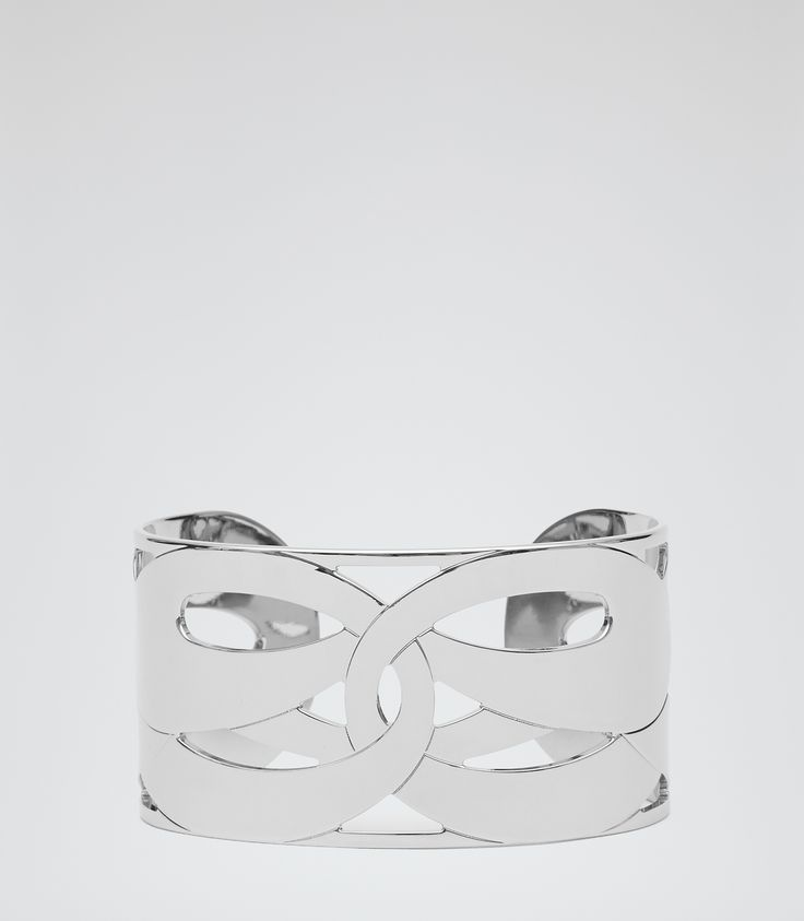 Womens Silver Cutwork Cuff - Reiss Evie