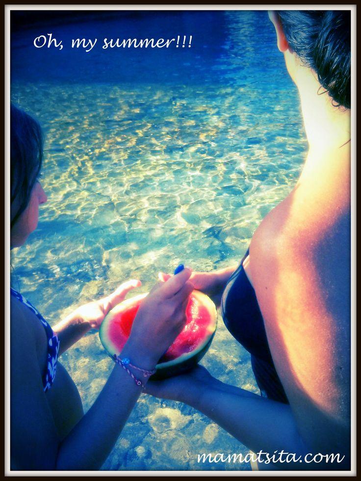 Enjoying cool watermelon and crystal clear sea. @Milokopi, Loutraki!!!