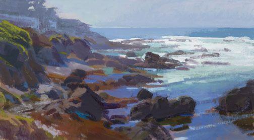 Marcia Burtt  Breakers on the Point  acrylic 10×18 in.
