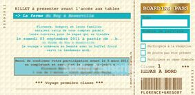 Billet d'embarquement d'avion  de mariage original voyage - Wedding plane ticket save the date invitation card