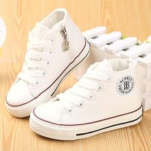 Kids shoes for girl children canvas shoes мальчики кроссовки 2017 Весна осень девушки shoes Белый High Solid fashion Children shoes(China (Mainland))