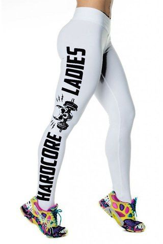 Active Skull and Letter Printed Bodycon Sport Leggings For WomenActivewear | RoseGal.com