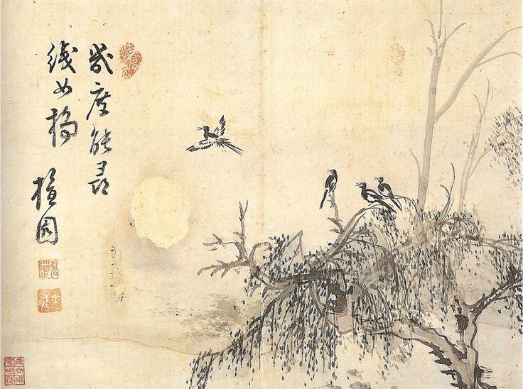 (Korea) 군작보희 떼까치, by Danwon Kim Hong-do (1745- 1806). ca 18th century CE. ink on paper.