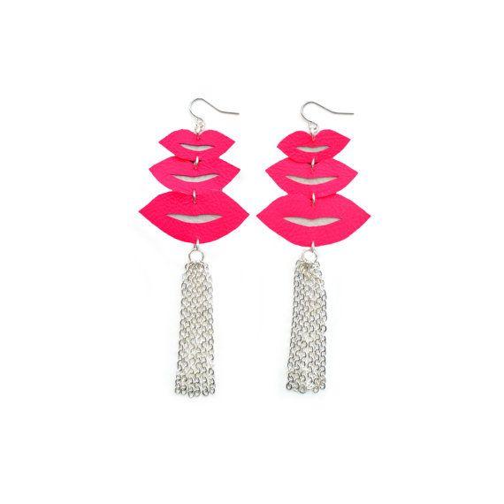 Hot Pink Lips Earrings Silver Tassel Earrings by BooandBooFactory