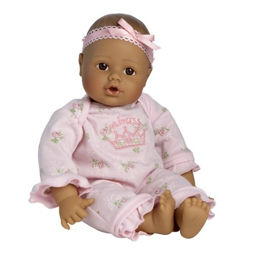 $24.99 Adora Playtime Baby Doll 13 Medium Brown Eyes Pink Romper. Adoras Playtime babies have life-like features and are created in our exclusive, lightly baby powder scented, Gentle Touch vinyl. They are the perfect 1st baby doll weighing just about 12 ounces. This is the appropriate weight for a young doll lover 12  months to hold. Adoras Playtime babies have a cuddly silky-smooth body which also makes them perfect for hugging while the bean bag weighted bottom gives them their life-