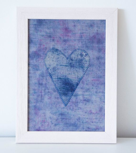 Textile Art Handdyed Heart Blue Pink Linen by Emma June Designs