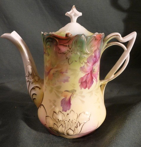 Antique Old RS Prussia Floral Decorated Porcelain Teapot Coffee or Chocalate Pot | eBay