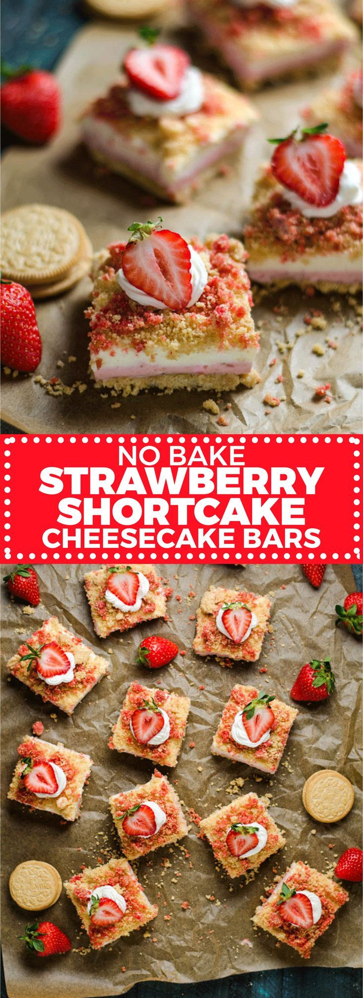 No Bake Strawberry Shortcake Cheesecake Bars. Like the popsicles of your youth, but 100 times better. A rich, sweet, tangy, and delicious dessert. | http://hostthetoast.com