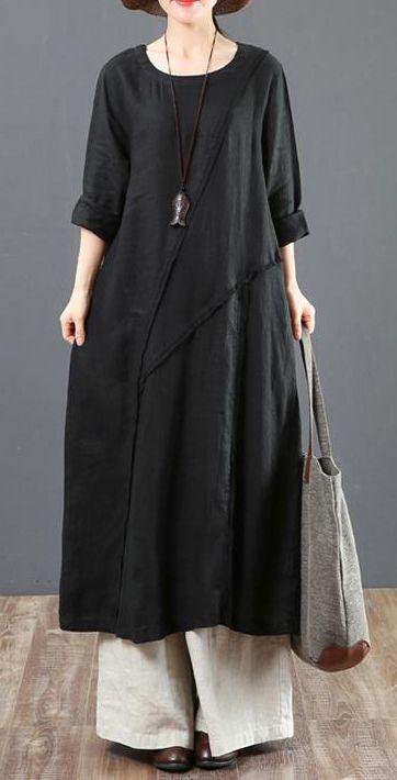 6ff734fd3f Loose linen Wardrobes Vintage Casual Long Sleeve Spliced Women black Dress  blackdress oneckdress