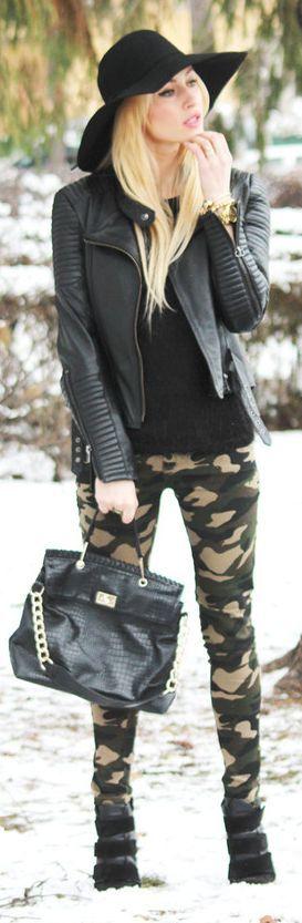 camo & leather
