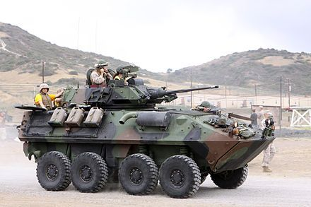 The LAV-25 is an eight-wheeled amphibiousreconnaissance vehicle used by the United States Marine Corps and Canadian Army. It was built byGeneral Dynamics Land Systems Canada and is based on the Swiss MOWAG Piranha I 8×8 family ofarmored fighting vehicles.