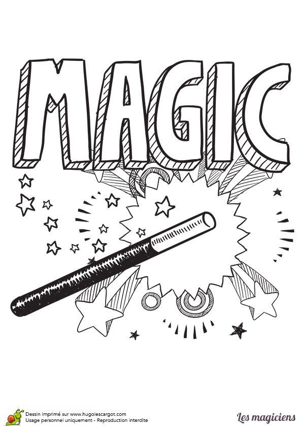 A colorier, une affiche d'un spectacle de magie